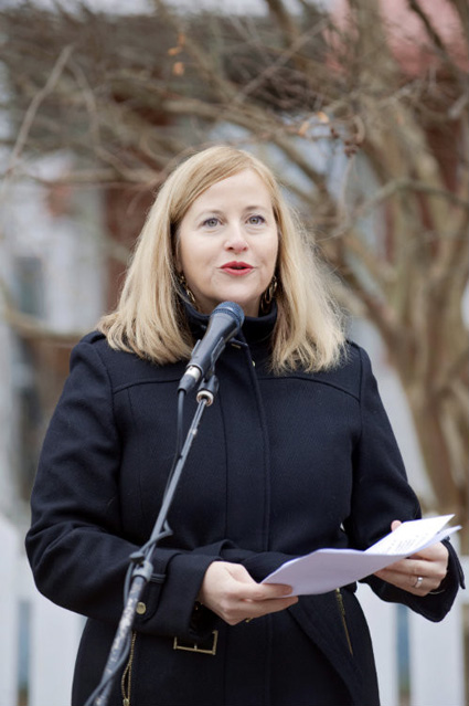 Nashville Mayor Megan Barry spoke about Penny Campbell's pioneering advocacy for justice and equality at the ceremony for Campbell's historical marker. (Kristi Irving/Vanderbilt)