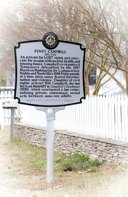 A Nashville historical marker for LGBT activist Penny Campbell has been placed in front of her former East Nashville home, 1615 McEwen Ave. (Kristi Iving/Vanderbilt)