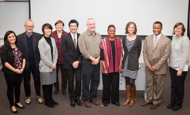 L-r: The College of Arts and Science's Kirsten Mendoza, Mark Jarman, Tiffany Tung, Lauren Benton, Keivan Stassun, Jonathan Hiskey, Hortense Spillers, Danielle Picard, Andre Christie-Mizell and Suzanne Globetti. (Susan Urmy/Vanderbilt)