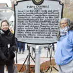 L-r: Vanderbilt faculty Bruce Morrill, Ellen Armour, Emilie Townes and Laurel Schneider attended the ceremony to unveil the Nashville historical marker for Penny Campbell, who earned her master of divinity from Vanderbilt in 1989. (Kristi Irving/Vanderbilt)