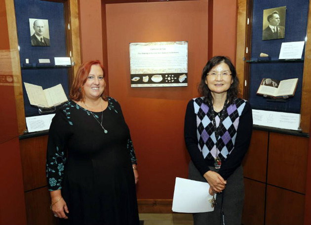 "L-r: Annalisa Azzoni and Charlotte Lew are co-curators with Douglas Knight (not pictured) of the ""Cultures in Clay"" exhibit at Vanderbilt Divinity Library. (Steve Green/Vanderbilt)"