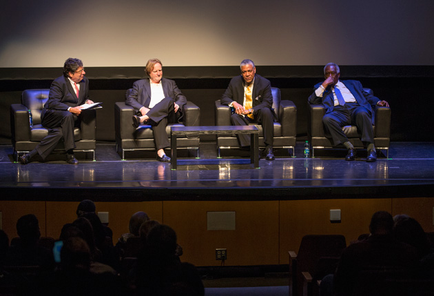 "Chancellor Nicholas S. Zeppos, filmmaker Rich Gentile, Godfrey Dillard and Vice Chancellor for Athletics and University Affairs and Athletics Director David Williams discuss ""Triumph: The Untold Story of Perry Wallace."" (Joe Howell/Vanderbilt)"