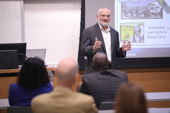 During his visit to Vanderbilt, Alexander Kott, chief scientist of the Army Research Lab, presents on the use of artificial intelligence on the battlefield to an audience of faculty, staff and students. (Vanderbilt University)