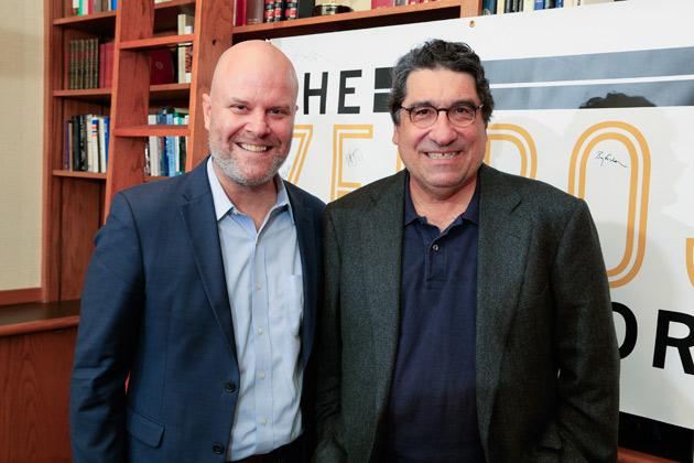Vanderbilt writer-in-residence Andrew Maraniss and Chancellor Nicholas S. Zeppos. (Vanderbilt University)