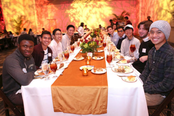 Students who did not travel home for the holiday break joined Chancellor Nicholas S. Zeppos for an early Thanksgiving dinner at the Student Life Center Nov. 20. (Anne Rayner/Vanderbilt)