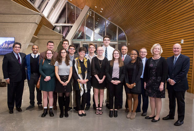 Ten freshmen engineering students who represent the first cohort of A. James Clark Scholars at Vanderbilt were recognized at a Nov. 1 dinner that marked the first time Courtney Clark Pastrick, daughter of the program's namesake, was able to hear in person what the scholarship program means to these students. (Susan Urmy/Vanderbilt)