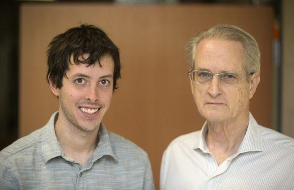 Tim Potteiger, a Ph.D. student in electrical engineering (left), and Ken Pence, professor of the practice of engineering management. (Joe Howell/Vanderbilt University)