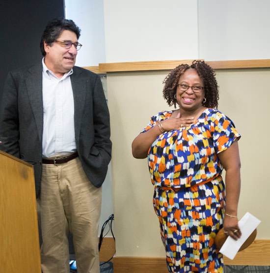 Chancellor Nicholas S. Zeppos presented Campus Dining's Maxine Ebanks with the Heart and Soul Staff Appreciation Award Nov. 15. (Susan Urmy/Vanderbilt)