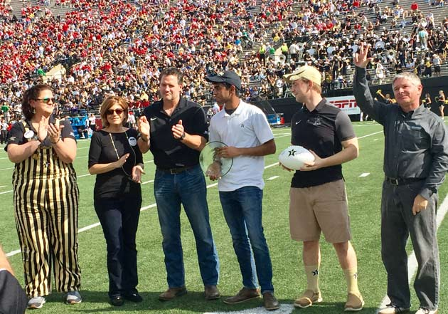 "WilSkills celebrated its title of ""Greenest Group on Campus"" with on-field recognition during the Vanderbilt versus Western Kentucky home football game Nov. 4. (Vanderbilt University)"