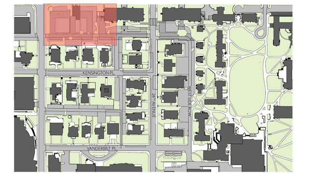Utilities construction will begin along West End Avenue near Carmichael Towers 3 and 4 and also will include the alley between 25th Avenue and Towers 3 and 4, resulting in the closure of lots 69, 69A and 70. (Vanderbilt Parking Services)