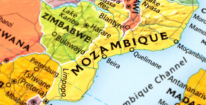 Map of Mozambique. A detail from the World Map.
