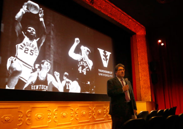 "Chancellor Nicholas S. Zeppos introduced a screening of the documentary film ""Triumph: The Untold Story of Perry Wallace"" Nov. 8 at the Belcourt Theatre. (Steve Green/Vanderbilt)"