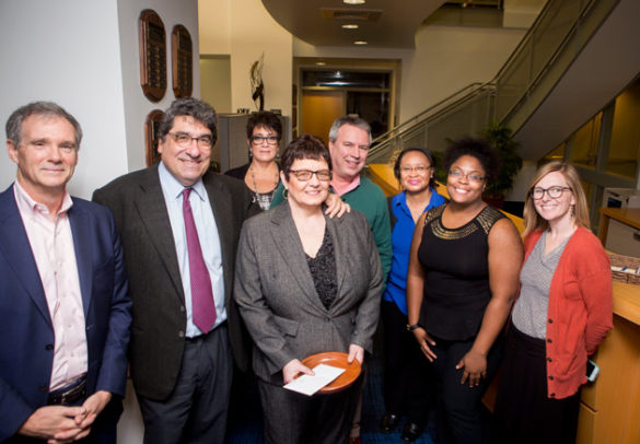 L-r: Biological Sciences Chair Doug McMahon, Chancellor Nicholas S. Zeppos, Chancellor's Heart and Soul Award recipient Carol Wiley and members of the Department of Biological Sciences staff. (Susan Urmy/Vanderbilt)