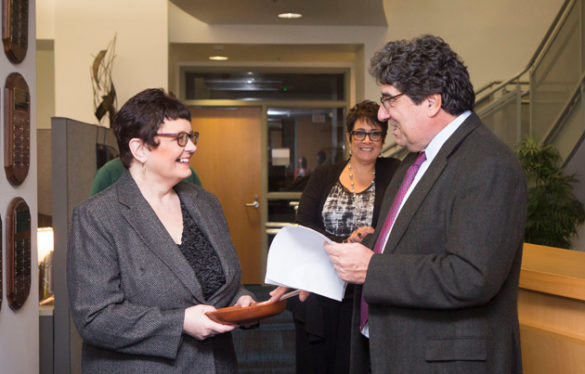 Chancellor Nicholas S. Zeppos presents Carol Wiley, grant manager for the Department of Biological Sciences, with the Chancellor's Heart and Soul Staff Appreciation Award Nov. 8. (Susan Urmy/Vanderbilt)