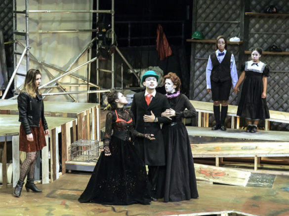 L-r: Lexi Pérez with the Company; Miranda Pepin as the Stepdaughter; Robyn Hendrix as the Boy; and Koryn Guile in the role of the Girl. (Phillip Franck/Vanderbilt)