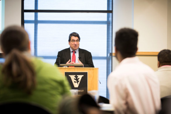 Chancellor Nicholas S. Zeppos addressed journalists gathered at Vanderbilt for an institute sponsored by Poynter. (Susan Urmy/Vanderbilt)