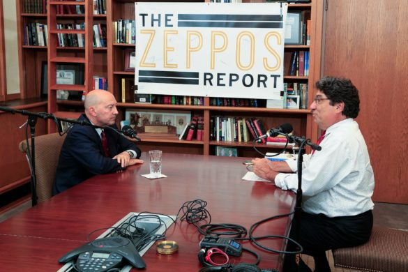 "Adm. James Stavridis and Chancellor Nicholas S. Zeppos discuss global leadership and security for ""The Zeppos Report."" (Vanderbilt University)"