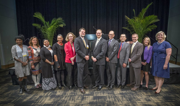 L-r: Maria Magdalena Campos-Pons, Heather Conner, Donna Y. Ford, Rhonda Y. Williams, D. Borden Lacy, Erik William Carter, Jeffrey L. Neul, Kevin M. Stack, Atsushi Inoue, Jonathan G. Schoenecker, Joni Hersch and Provost Susan R. Wente at the Oct. 23 endowed chair celebration. (John Russell/Vanderbilt)