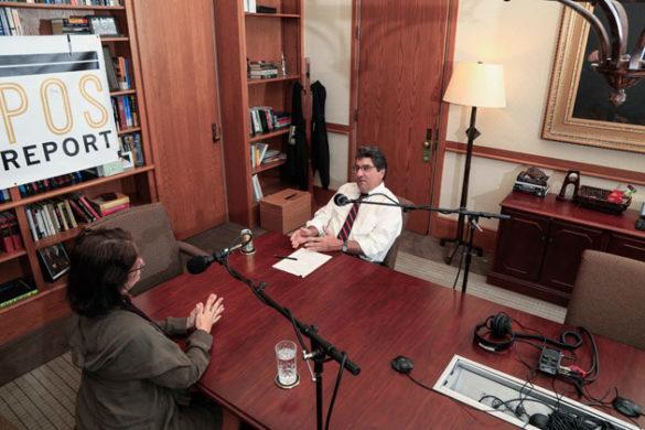 "Chancellor Nicholas S. Zeppos (right) interviews Associate Professor of Psychology Suzana Herculano-Houzel for ""The Zeppos Report."" (Vanderbilt University)"