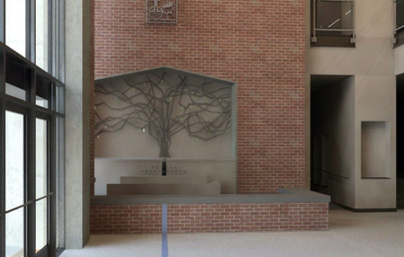 Custom-made art work—a tree sculpture— is being created for the main entrance of the Vanderbilt Divinity School's new addition. (rendering by Gilbert, McLaughlin, Casella Architects)