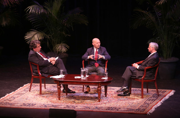 "L-r: Chancellor Nicholas S. Zeppos, Adm. James Stavridis and Vanderbilt Distinguished Visiting Professor Jon Meacham discussed ""Beyond the Horizon: 21st-Century Global Security and Risk"" Oct. 3 in Ingram Hall. (Anne Rayner/Vanderbilt)"