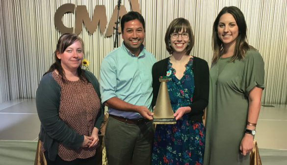 L-r: The Division of Administration's Leigh Shoup, Campus Planning and Construction's Robert Waits, Administration's Ashley Majewski, and the Sustainability and Environmental Management Office's Chelsea Hamilton received Vanderbilt's Golden Cone Award from the Nashville Civic Design Center at a celebration Sept. 27.