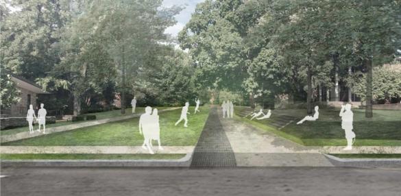 parklike pedestrian setting