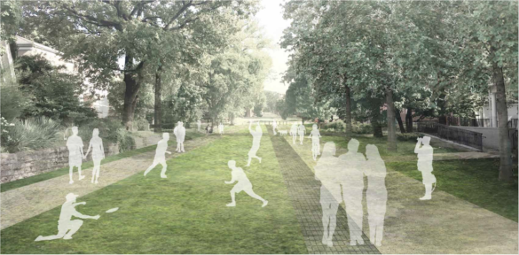 Image of park-like area with pedestrians