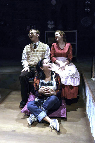 "L-r: William Cummings as Father, Annie Bradford as Mother and Kat Ko (front) as Moll in ""Kid Simple: A Radio Drama in the Flesh."" (courtesy of Phillip Franck)"