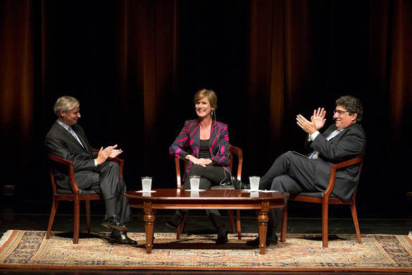 "Vanderbilt Distinguished Visiting Professor Jon Meacham, former Acting Attorney General Sally Yates and Chancellor Nicholas S. Zeppos discussed ""The Presidency and the Rule of Law"" Sept. 26 in Langford Auditorium. (Joe Howell/Vanderbilt)"