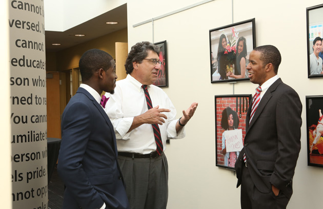 L-r: IICC Assistant Director Greg Fontus, Chancellor Nicholas S. Zeppos and Multicultural Leadership Council President Jacob Pierce at the new SJI center's grand opening. (Anne Rayner/Vanderbilt)