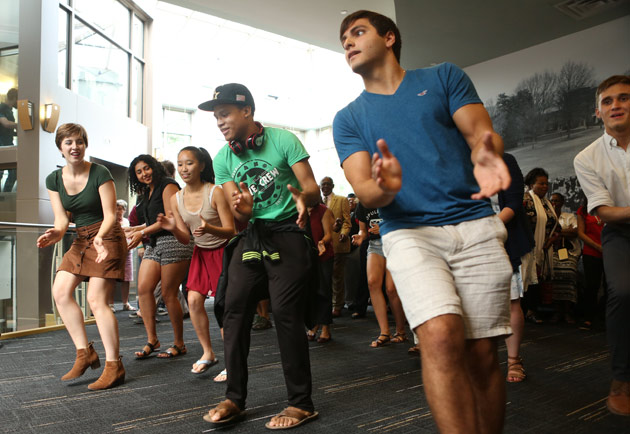 Students, staff and administrators could not resist moving to the beat of the Latin music that filled the third floor of Sarratt Student Center Sept. 19. (Anne Rayner/Vanderbilt)