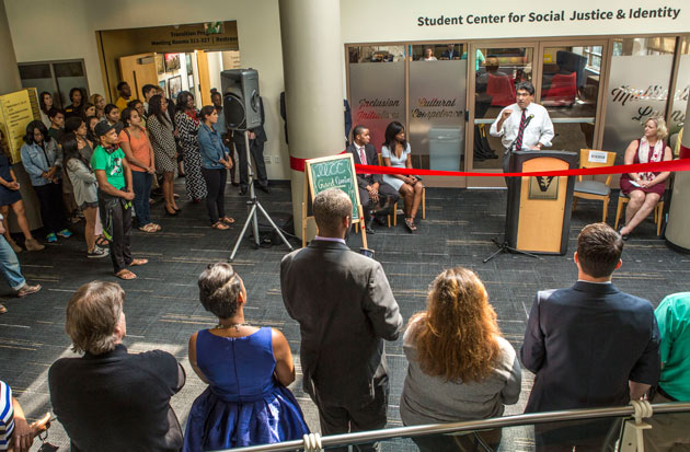 Chancellor Nicholas S. Zeppos delivers remarks at the Sept. 19 grand opening of the Student Center for Social Justice and Identity. (Anne Rayner/Vanderbilt)