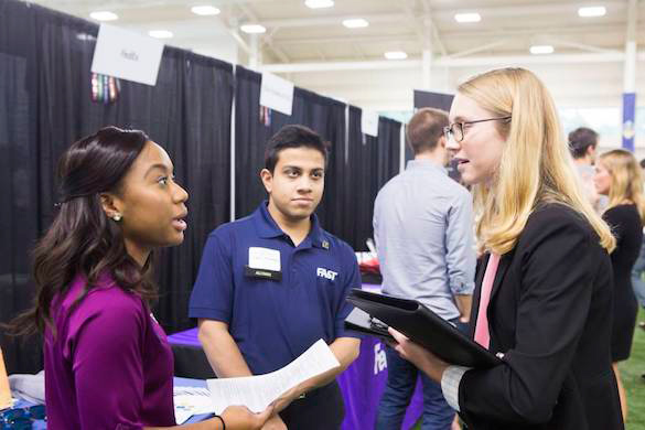 About 1,750 students had the chance to meet with 117 employers at a career fair held at the Vanderbilt Recreation and Wellness Center organized by the Vanderbilt Career Center Sept. 19. (Susan Urmy/Vanderbilt)