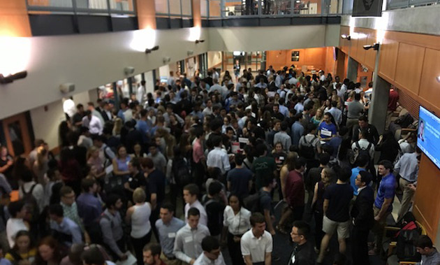 Approximately 360 students interested in engineering careers attended a casual speed-networking event with potential employers at Featheringill Hall organized by the Vanderbilt Career Center Sept. 18. (Vanderbilt University)