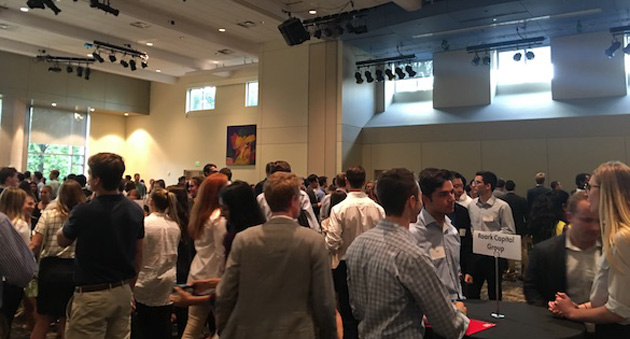 Approximately 260 students interested in business careers attended a casual speed-networking event with potential employers at the Student Life Center organized by the Vanderbilt Career Center Sept. 18. (Vanderbilt University)