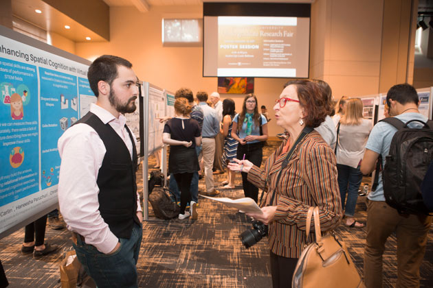 This year's Vanderbilt Undergraduate Research Fair highlighted a diverse array of student research endeavors, with participation from all four undergraduate colleges, and faculty mentors representing 49 departments across Vanderbilt's campus and several other institutions. (Vanderbilt University)