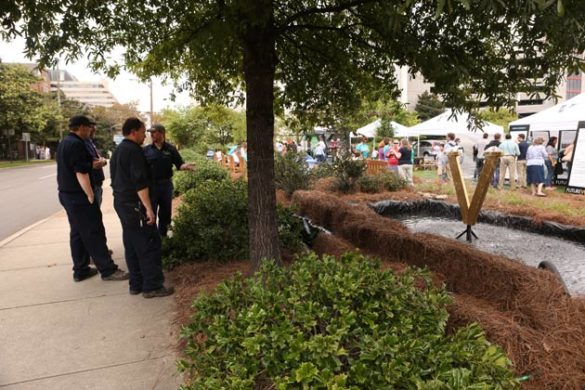 Plant Operations staff created a temporary water feature for a recent pop-up park on campus. (Anne Rayner/Vanderbilt)
