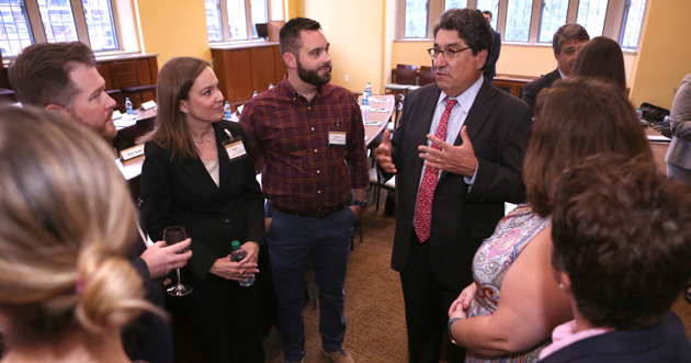 Chancellor Nicholas S. Zeppos (right) greets members of the 2017 cohort of the Vanderbilt Leadership Academy at the Sept. 7 kickoff event. (Vanderbilt University)