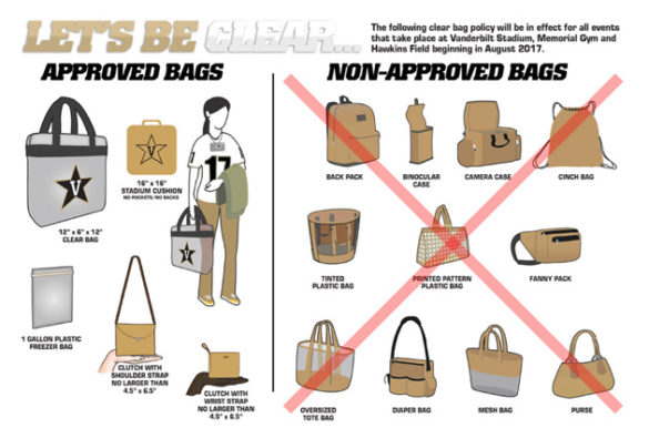 In compliance with the Southeastern Conference, Vanderbilt Stadium has a clear-bag policy for all home football games.
