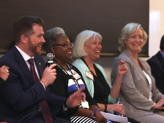L-r: Vice Chancellor for Communications Steve Ertel, Interim Vice Chancellor for Equity, Diversity and Inclusion Tina L. Smith, Vice Chancellor and General Counsel Audrey Anderson and Provost and Vice Chancellor for Academic Affairs Susan R. Wente address members of the 2017 VLA cohort at the kickoff event. (Vanderbilt University)