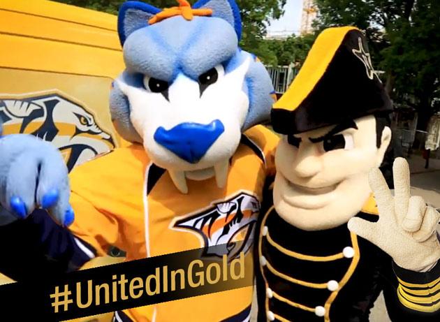 The Nashville Predator's Gnash and Vanderbilt's Mr. C are united in gold. (Vanderbilt University)