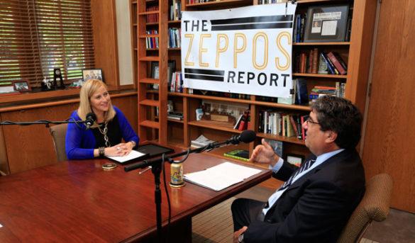 "Chancellor Nicholas S. Zeppos interviews Nashville Mayor Megan Barry (left) for the 10th episode of ""The Zeppos Report."" (Vanderbilt University)"