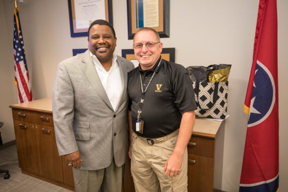 Associate Vice Chancellor August Washington and VUPS' Marty Wright. (John Russell/Vanderbilt)