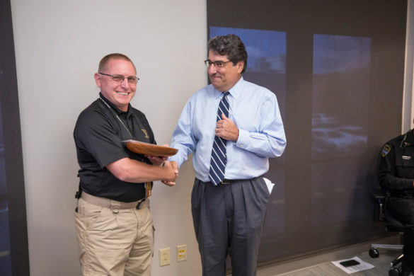 Vanderbilt University Public Safety's Marty Wright received the inaugural Heart and Soul Staff Appreciation Award from Chancellor Nicholas S. Zeppos Sept. 6. (John Russell/Vanderbilt)