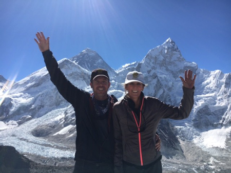 Keith and Susan Hoogland, who made a $5 million gift to name the new undergraduate business program, on a Mt. Everest expedition in May 2017.