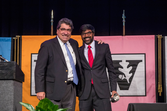 Chancellor Nicholas S. Zeppos and Chancellor's Award for Research, Scholarship or Creative Expression winner Ganesh Sitaraman. (John Russell/Vanderbilt)