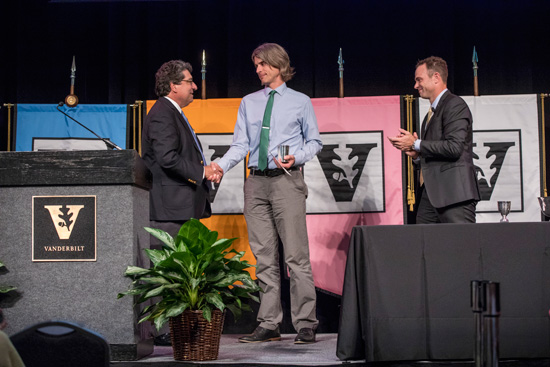 Chancellor Nicholas S. Zeppos, Chancellor's Award for Research on Equity, Diversity and Inclusion co-winner Jason Grissom and Faculty Senate Chair Geoffrey Fleming. (John Russell/Vanderbilt)