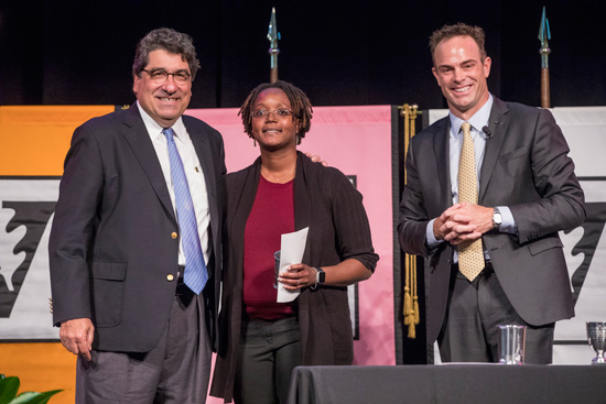 Chancellor Nicholas S. Zeppos, Chancellor's Award for Research on Equity, Diversity and Inclusion co-winner Evelyn Patterson and Faculty Senate Chair Geoffrey Fleming. (John Russell/Vanderbilt)