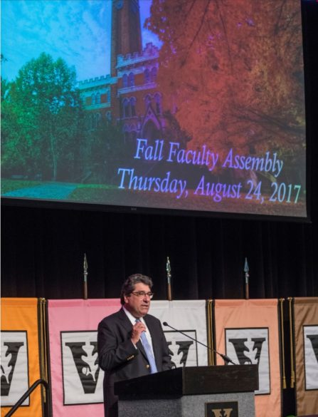 Chancellor Nicholas S. Zeppos addresses faculty at the 2017 fall assembly. (John Russell / Vanderbilt)